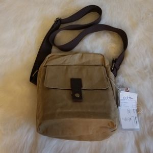 Lee & Man Waxed Camera Bag Cream Carmel New